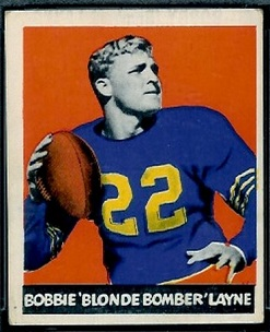 Bobby Layne 1948 Leaf rookie football card, red pants variation