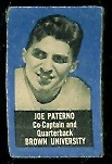 Joe Paterno 1950 Topps Felt Back rookie football card