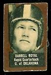 Darrell Royal 1950 Topps Felt Backs rookie football card - brown