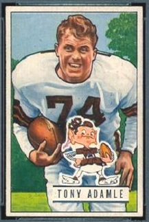 Tony Adamle 1951 Bowman football card