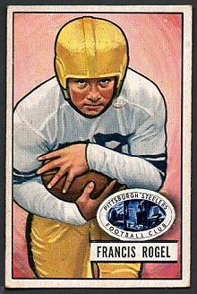 1951 Bowman Fran Rogel football card