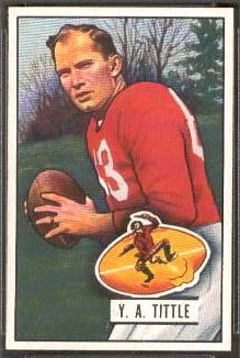Y.A. Tittle 1951 Bowman football card