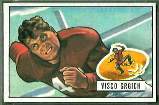 Visco Grgich 1951 Bowman football card