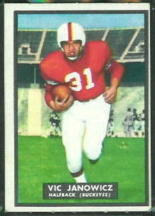 Vic Janowicz 1951 Topps Magic football card