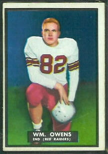 Bill Owens 1951 Topps Magic football card