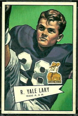 Yale Lary 1952 Bowman Large football card