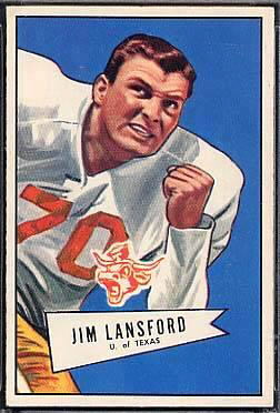 Jim Lansford 1952 Bowman Large football card