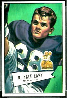 Yale Lary 1952 Bowman Small football card