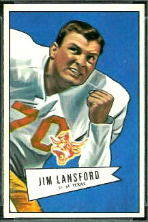 Jim Lansford 1952 Bowman Small football card