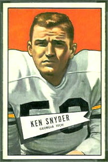 Ken Snyder 1952 Bowman Small football card