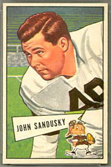 John Sandusky 1952 Bowman Small football card