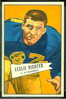 1952 Bowman Small Les Richter rookie football card