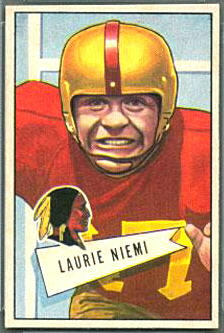 Laurie Niemi 1952 Bowman Small football card