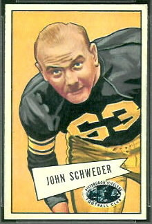 1952 Bowman Small John Schweder rookie football card
