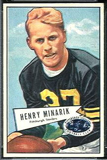 Harry Minarik 1952 Bowman Small football card