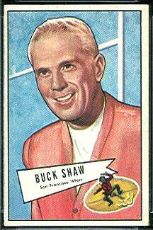 Buck Shaw 1952 Bowman Small football card