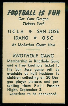 Back of 1953 University of Oregon football card