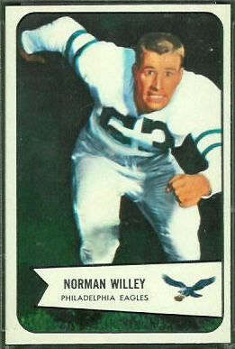 Norm Willey 1954 Bowman rookie football card