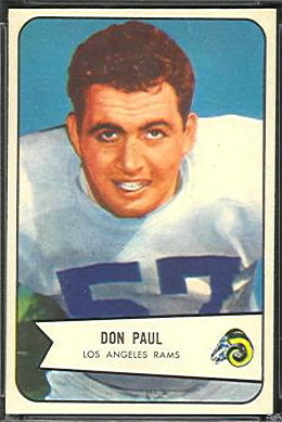 Don Paul 1954 Bowman football card