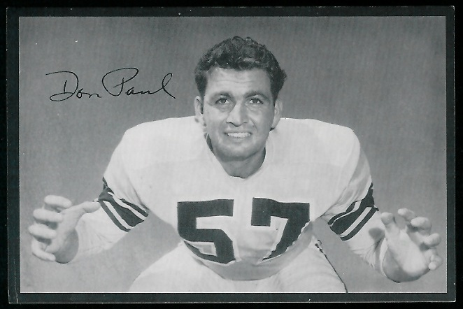 Don Paul 1954 Rams Team Issue football card