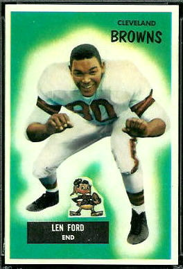 1955 Bowman Len Ford rookie football card