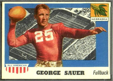 George Sauer 1955 Topps All-American football card