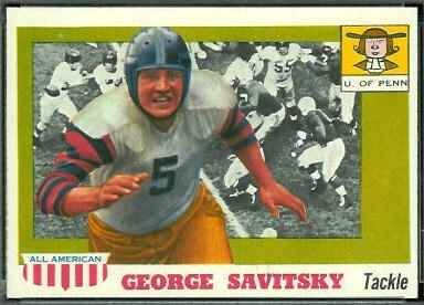 George Savitsky 1955 Topps All-American football card