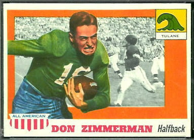 Don Zimmerman 1955 Topps All-American football card