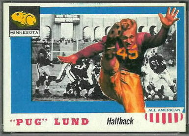 Pug Lund 1955 Topps All-American football card
