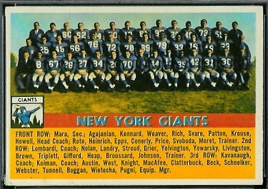 1956 Topps New York Giants team football card