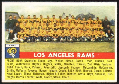 Los Angeles Rams Team 1956 Topps football card