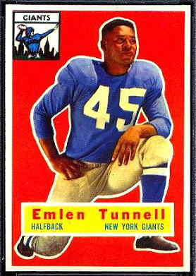 Emlen Tunnell 1956 Topps football card