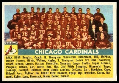 Chicago Cardinals Team 1956 Topps football card