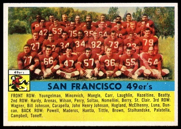 1956 Topps San Francisco 49ers team football card