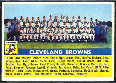 1956 Topps Cleveland Browns team football card