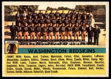 1956 Topps Washington Redskins team football card