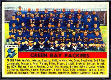 Green Bay Packers Team 1956 Topps football card