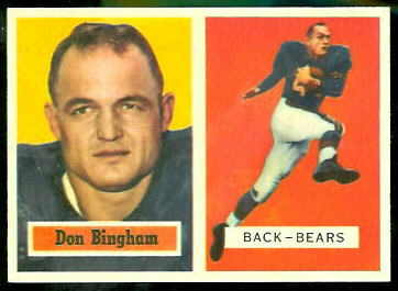 Don Bingham 1957 Topps football card