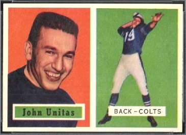 John Unitas 1957 Topps football card