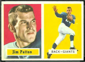 Jim Patton 1957 Topps football card