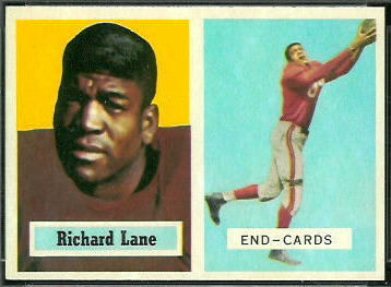 Dick Lane 1957 Topps football card