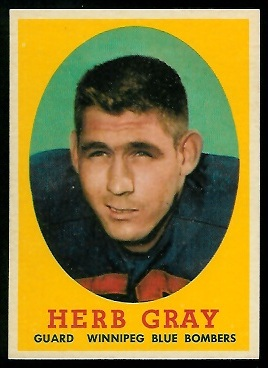 Herb Gray 1958 Topps CFL football card