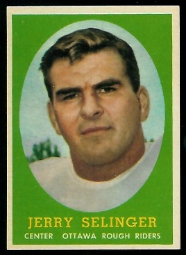 Jerry Selinger 1958 Topps CFL football card