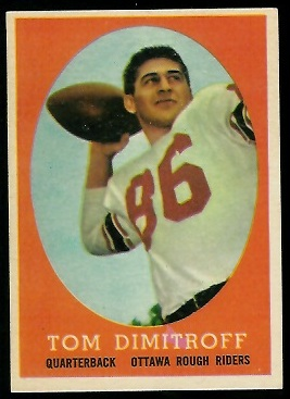 Tom Dimitroff 1958 Topps CFL football card