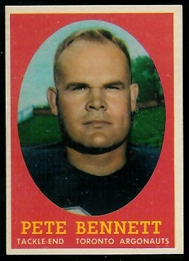 Pete Bennett 1958 Topps CFL football card