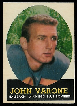 John Varone 1958 Topps CFL football card