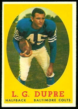 L.G. Dupre 1958 Topps football card