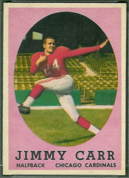 Jimmy Carr 1958 Topps football card