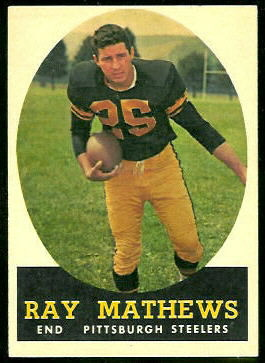 Ray Mathews 1958 Topps football card