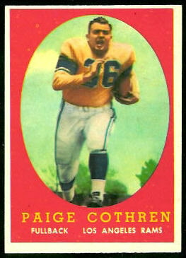 Paige Cothren 1958 Topps football card